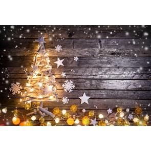 Christmas Tree Lights Snowflakes Wood Background Camera Backdrops