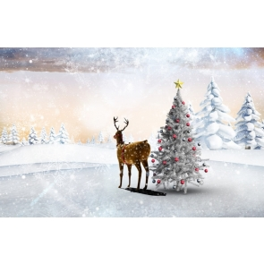 Winter White Snow Christmas Tree David's Deer Picture Camera Backdrops