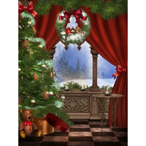 Red Curtain Christmas Tree Background Christmas Backdrops For Stage