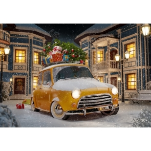 Outdoor Snowy Yellow Car Filled With Christmas Presents Christmas Backdrops