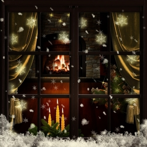 Snowflakes Outside The Window Christmas Backdrops Photography Background