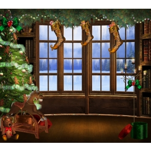 Glass Wood Window Christmas Tree Background Christmas Backdrops For Stage