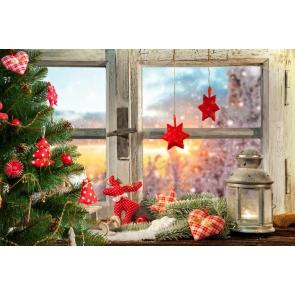 Glass Wood Window Christmas Tree Christmas Photography Backdrops