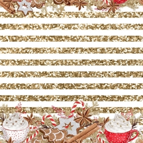 Gold White Stripes Personalized Christmas Party Backdrop Photography Background