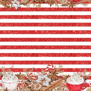 Red Stripes Personalized Christmas Party Backdrop Photography Background