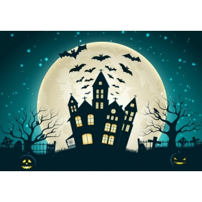 Black Bat Moon Decorations Background Halloween Party Backdrop