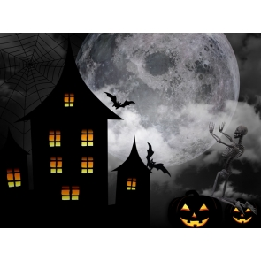 Black Pumpkin Bat Skeletons Moon Halloween Party Backdrop Decorations Background