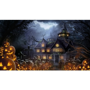 Pumpkin Theme Castle Halloween Background Party Backdrop Decorations