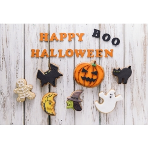 Pumpkin Bat Wood Floor Boo Cute Halloween Backdrop Party Background Decorations