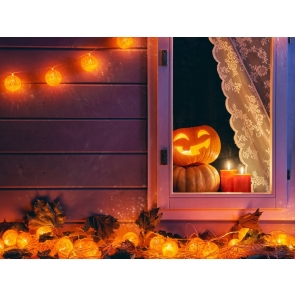 Cute Pumpkin Window Wood Floor Wall Halloween Backdrop Party Background Decorations