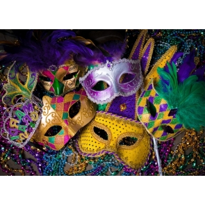 Mardi Gras Colorful Mask Backdrop Carnival Masquerade Background