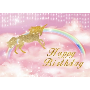 Glitter Unicorn Rainbow Children Birthday Party Backdrop Newborn Baby Shower Background