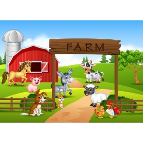 Cartoon Farm Children Birthday Party Backdrop Studio Photography Background