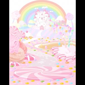 Cartoon Candyland Backdrop Castle Rainbow Children Birthday Photography Background