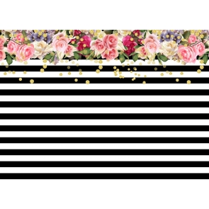 Black White Stripes Birthday Flower Spade Backdrop Party Photography Background