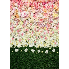 Personalized Flower Wall  Backdrop Green Grass Stitching Wedding Party Background