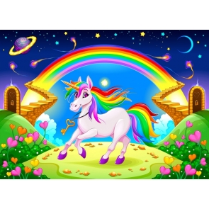 Blue Starry Sky Baby Shower Background Rainbow Unicorn Birthday Party Backdrop