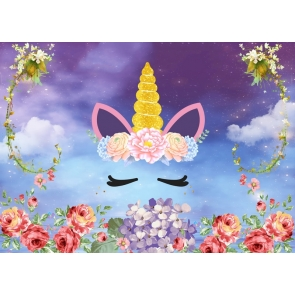 Flower Unicorn Birthday Party Backdrop Baby Shower Photography Background
