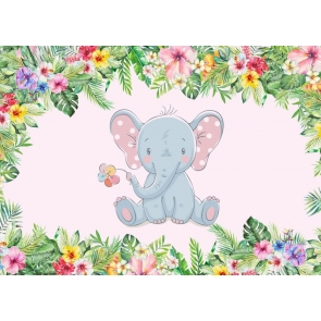 Flower Frame Around Cute Little Elephant Safari Baby Shower Backdrop Birthday Party Background