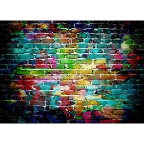 Colored Brick Background Rainbow Brick Wall Backdrop For Party