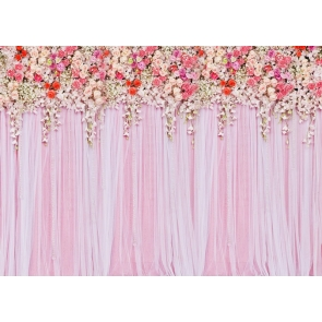 Pink Lace Flower Wall Wedding Backdrop Bridal Shower Photography Background