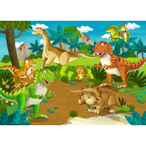 Cartoon Dinosaur Theme Backdrop Children Birthday Party Party Photography Background