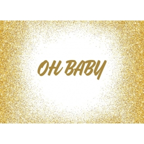 Gold Glitter Oh Baby Shower Birthday Backdrop Photography Background