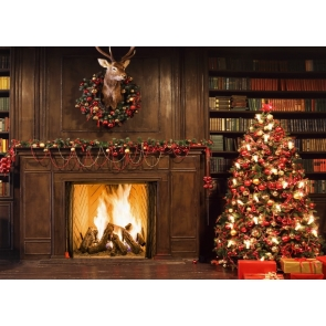 Retro Wood Fireplace Christmas Tree Backdrop Party Stage Photography Background
