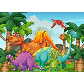 Cartoon Dinosaur Theme Backdrop Newborn Baby Shower  Photography Background