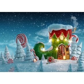Snow Covered Christmas Boots House Christmas Party Backdrop Stage Photography Background
