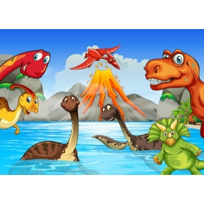 Children Birthday Party Party Cartoon Dinosaur Theme Backdrop Photography Background