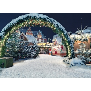 Snow Covered Christmas Arch Door Villa Christmas Party Backdrop Stage Photography Background
