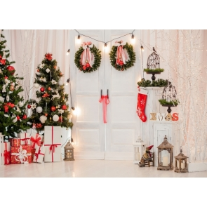 Interior Room White Wood Door Christmas Tree Backdrop Party Stage Photography Background
