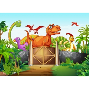 Children Birthday Party Party Photography Background Dinosaur Theme Backdrop