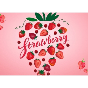 Sweet Pink Strawberry Theme Background Valentines Day Wedding Backdrop