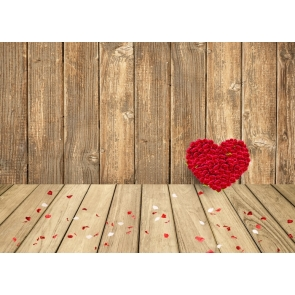 Red Heart Rose Love Theme Wedding Background Valentines Day Wood Backdrop