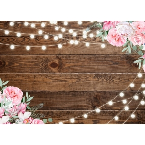 Creative Wedding Wood Backdrop With Flowers Light Bridal Shower Step Repeat Rustic Background