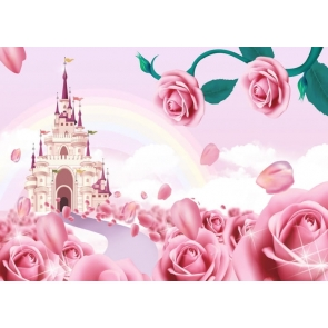 Fairy Tale World Wonderland Castle Pink Rose Theme Valentines Day Backdrop Wedding Background