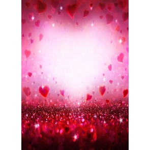Glitter Bokeh Red Heart Love Theme Wedding Background Valentines Day Backdrop