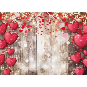 Love Red Heart Valentines Day Backdrop Wedding Photography Background
