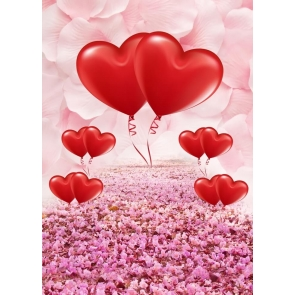 Cherry Blossoms Love Red Heart Wedding Photography Background Valentines Day Backdrop