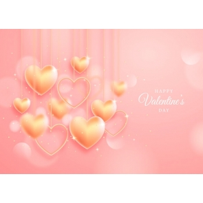 Love Gold Heart Happy Valentines Day Backdrop Photography Background