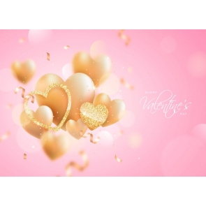 Love Gold Heart Pink Background Happy Valentines Day Backdrop
