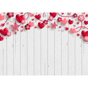 Red Heart Love Wood Wedding Backdrop Valentines Day Photography Background