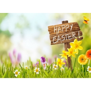 Flowers Happy Easter Backdrop Photography Background