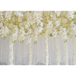 White Flower Wall Wedding Backdrop Bridal Shower Photography Background