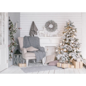 White Wood Wall Christmas Tree Christmas Backdrop For Photography Background