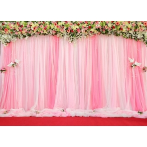 Personalized Pink Chiffon With Flowers Wedding Backdrop Bridal Shower Photography Background