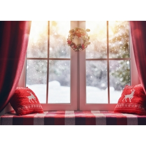 Transparent Glass Window Christmas Backdrops Stage Photography Background