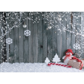 Wood Wall Background Snowflake Christmas Backdrop For Photography